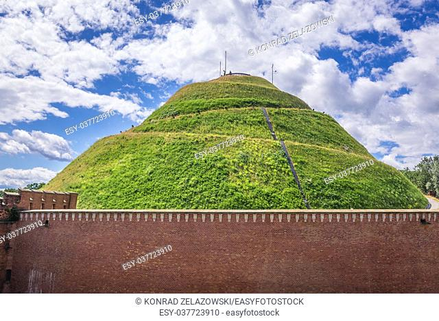Tadeusz Kosciuszko Mound and citadel walls in Cracow city, Lesser Poland Voivodeship of Poland
