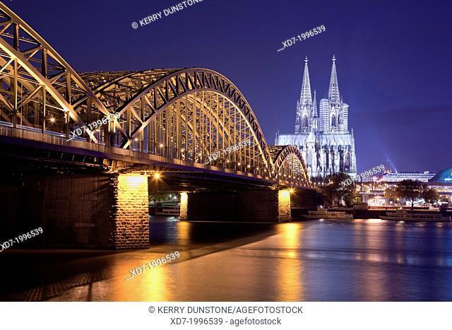 Cologne Cathedral with River Rhine and Hohenzollern Brucke (Bridge), Cologne, Rhine-Westphalia, Germany