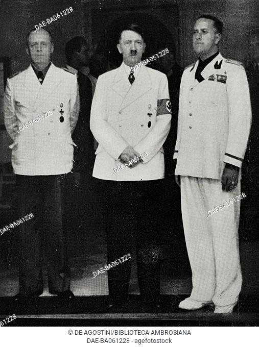 Meeting between Joachim von Ribbentrop, Adolf Hitler and Galeazzo Ciano in Fuschl, Austria, from L'Illustrazione Italiana, Year LXVI, No 34, August 20, 1939