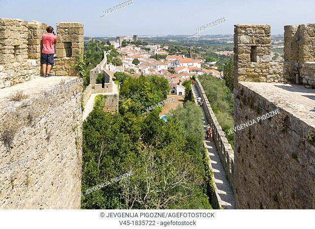 View of Obidos from the city wall, Castelo de Obidos, Obidos Castle, Obidos, Leiria District, Pinhal Litoral, Portugal