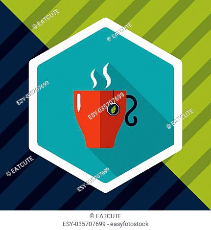 hot tea flat icon with long shadow,eps10