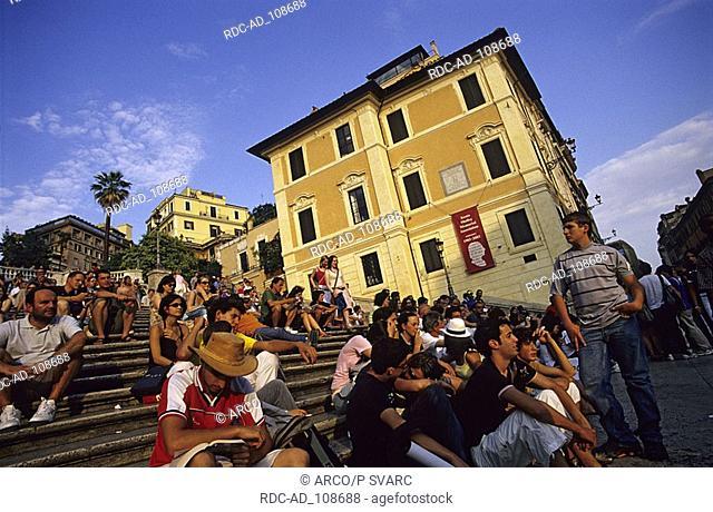 People on the Spanish Steps Piazza di Spagna Rome Lazio Italy Scalinata della Trinita dei Monti