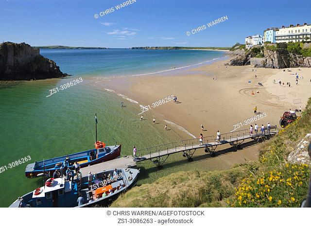 Castle Beach and South Beach Tenby Pembrokeshire Wales with Caldey Island in the background