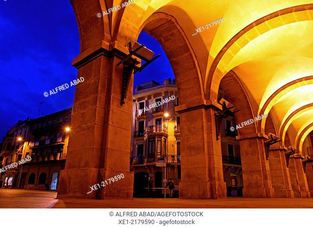 Arcades of the Town Hall at sunset, main square, Manresa, Catalonia, Spain