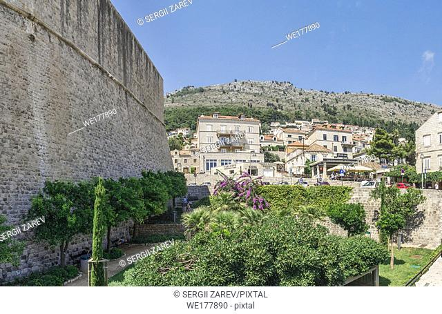 Dubrovnik, Croatia - 07. 13. 2018. A small garden near the wall outside the old town of Dubrovnik in Croatia