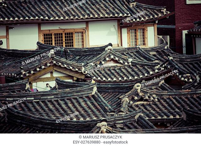 Bukchon Hanok Village is one of the famous place for Korean traditional houses in Seoul, South Korea