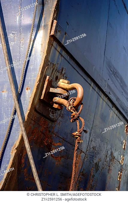 The Hook and Eyebolt on the side of a ship