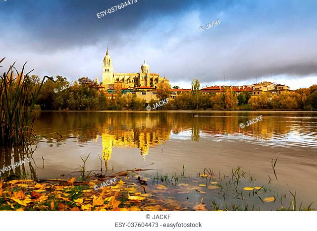 Autumn view of Tormes River in Salamanca. Spain