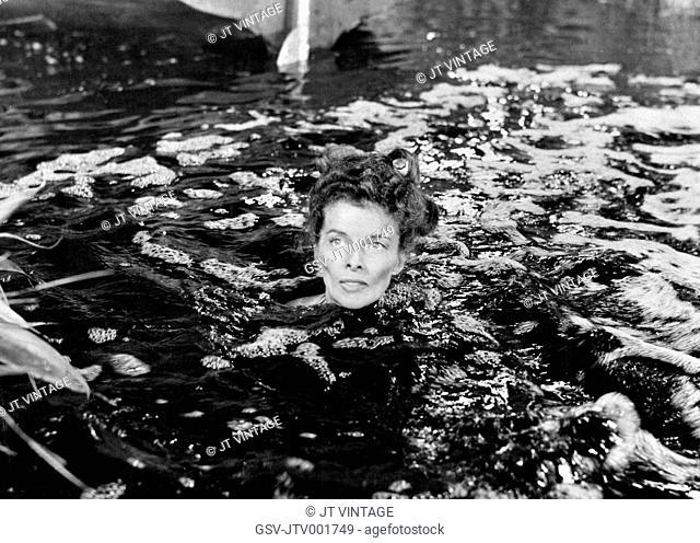 Katherine Hepburn on-set of the Film, The African Queen, 1951