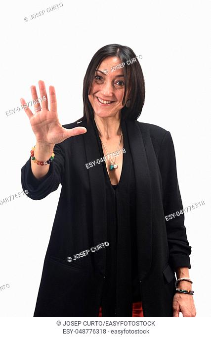 woman with open hand and number five on white background