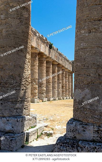 Interior view of the 5th century BC Doric temple at Segesta, western Sicily, Italy
