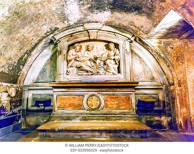 Monument Saint Luke, Saint Paul and Saint Peter Luke's House Underneath Church Santa Maria Via Lata Church Rome Italy. Where Peter