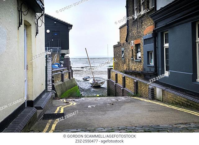 A slipway between buildings in Leigh on Sea, Essex