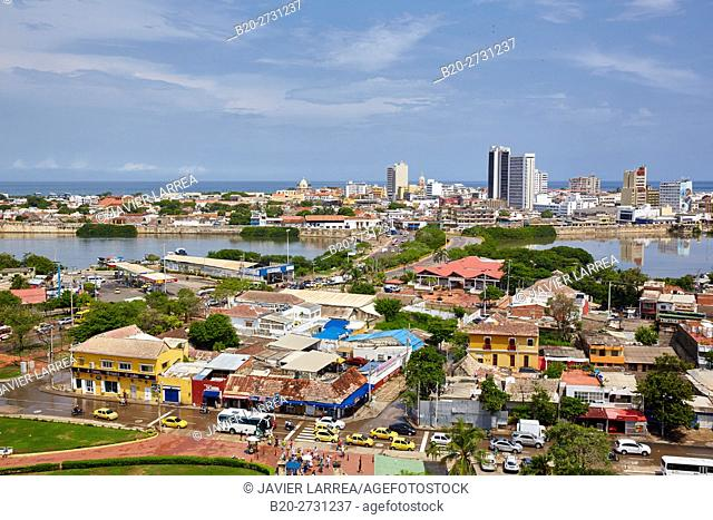 Views from the Castillo San Felipe, Cartagena de Indias, Bolivar, Colombia, South America