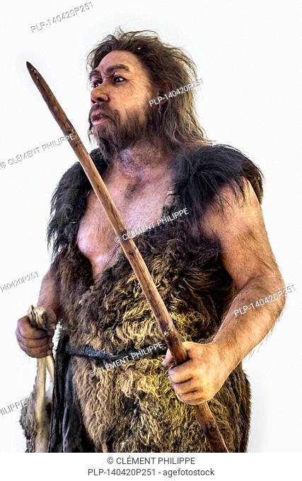 Neanderthal man at the Pôle International de la Préhistoire, Les Eyzies-de-Tayac-Sireuil, Les Eyzies de Tayac, Dordogne, France