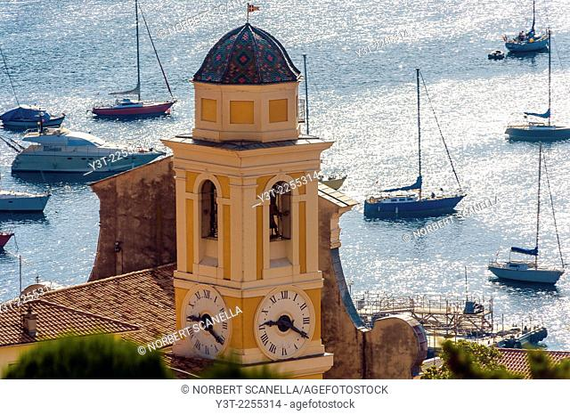 Europe, France, French Riviera, Alpes-Maritimes, Villefrance-sur-Mer. The bay and the campanile