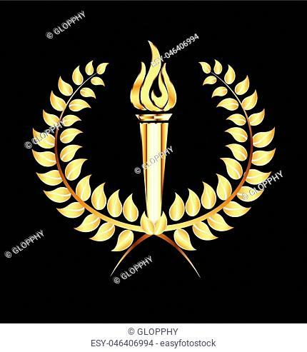 Torch flames gold laurel logo vector icon template
