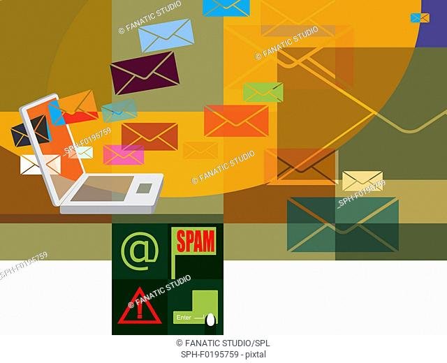Spam mails being downloaded on a laptop, illustration