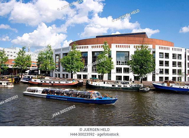 Amsterdam opera house canal boat