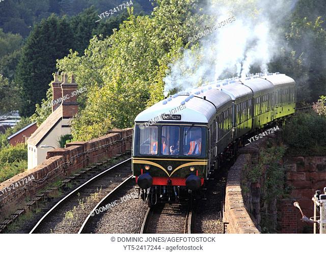 A vintage Class 108 DMU heads towards Bewdley inpreparation for the 'Fish N' Chip Special' evening run, Severn Valley Railway, Worcestershire, England, europe