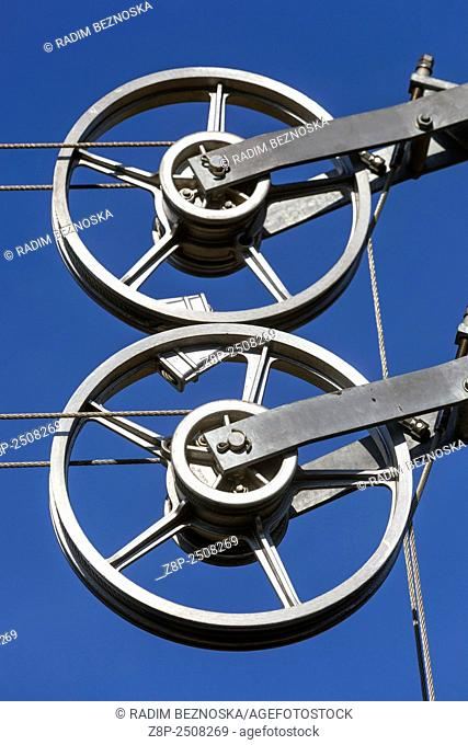 Pulley system used to tension overhead catenary or electric wires or lines on Czech railway
