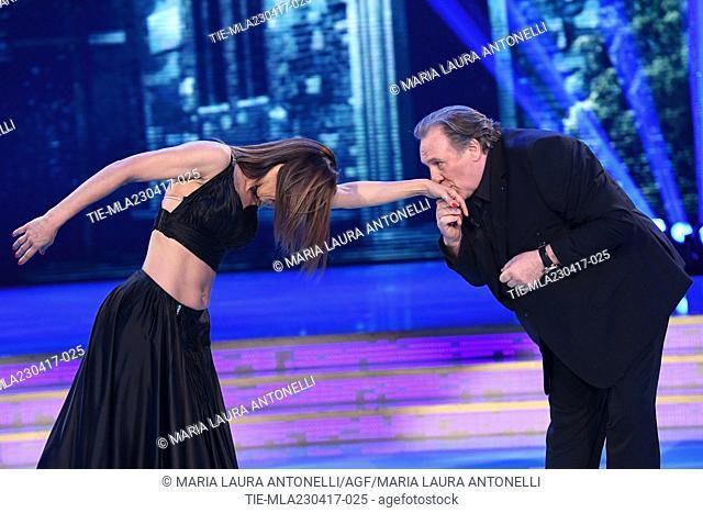 Sara Di Vaira, Gerard Depardieu during the tv show Ballando con le stelle, Rome, ITALY-22-04-2017
