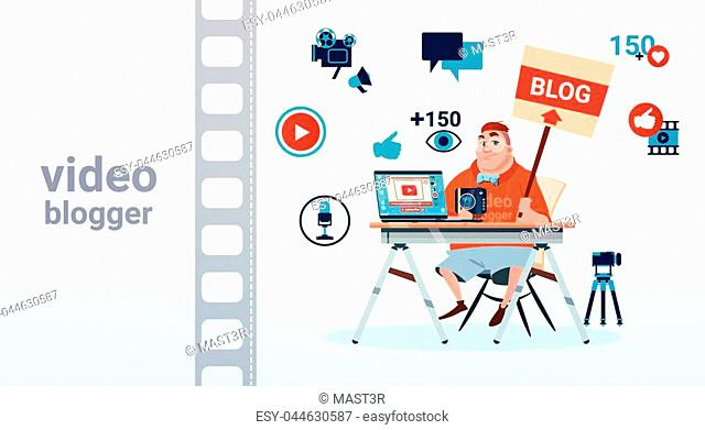 Man Video Blogger Camera Computer Screen Blogging Subscribe Concept Flat Vector Illustration