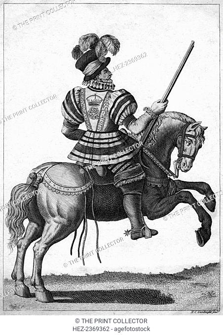 A Yeoman of the Guard, attending Queen Elizabeth I on a progress