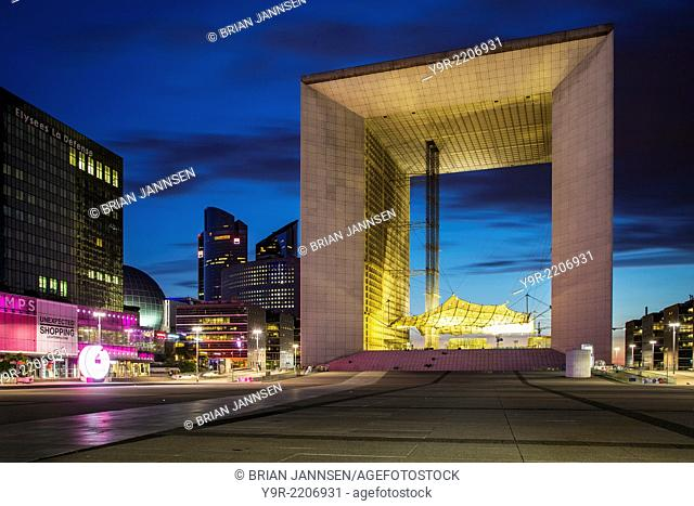La Grande Arche de la Defense, and the modern buildings of La Defense district, Paris France