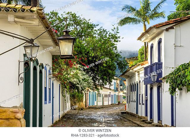 Colonial buildings in the historical centre of Paraty (Parati), Rio de Janeiro, Brazil, South America