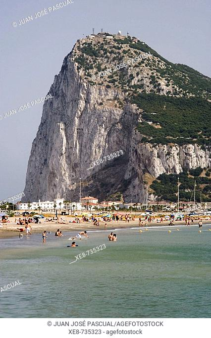Rock of Gibraltar seen from La Linea de la Concepcion. Cadiz province, Andalucia, Spain