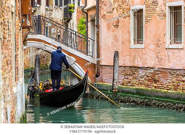 Gondola with tourist on Rio de la Vesta, Venice, Veneto, Italy, Europe
