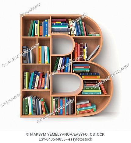 Letter B. Alphabet in the form of shelves with books isolated on white. 3d illustration