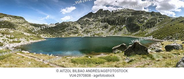 Estany de Juclar, a small mountain lake in Andorra, Pyrenees