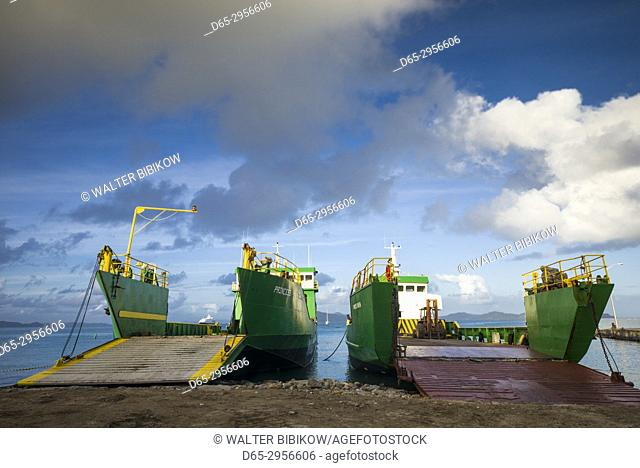 British Virgin Islands, Virgin Gorda, Spanish Town, inter-island cargo ship in port