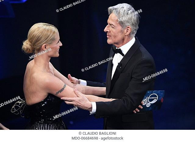 Television hosts Michelle Hunziker and Claudio Baglioni during the second evening of the 69th Sanremo Music Festival. Sanremo (Italy), February 6th, 2019