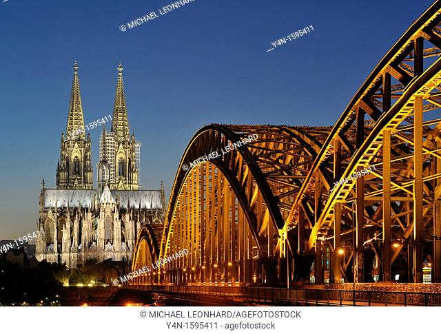View of Hohenzollern Bridge and Cathedral, Cologne, Germany