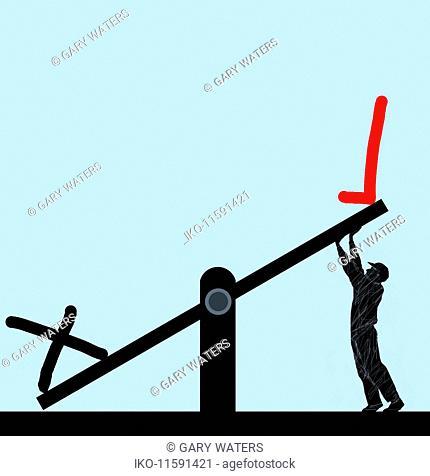 Man struggling to raise tick symbol on seesaw rather than cross