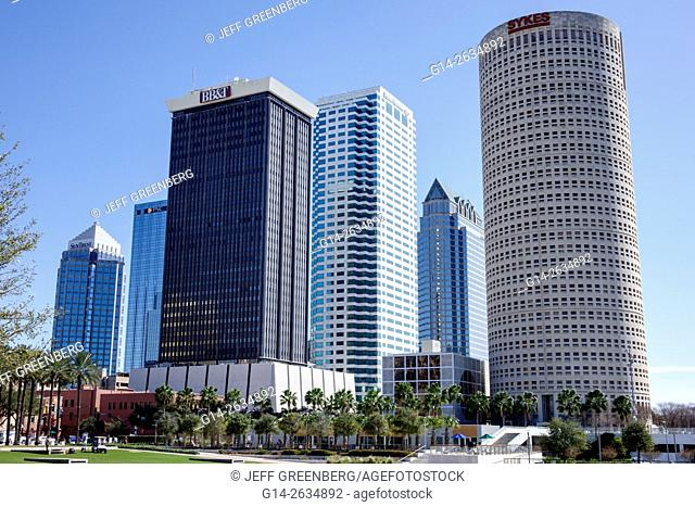 Florida, FL, Tampa, Curtis Hixon Waterfront Park, city skyline, skyscrapers, buildings