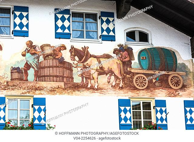 Close up of paintings on a traditional Bavarian building in Schwangau, Bavaria, Germany, Europe