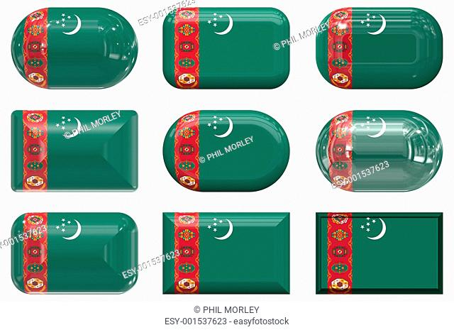 nine glass buttons of the Flag of Turkmenistan