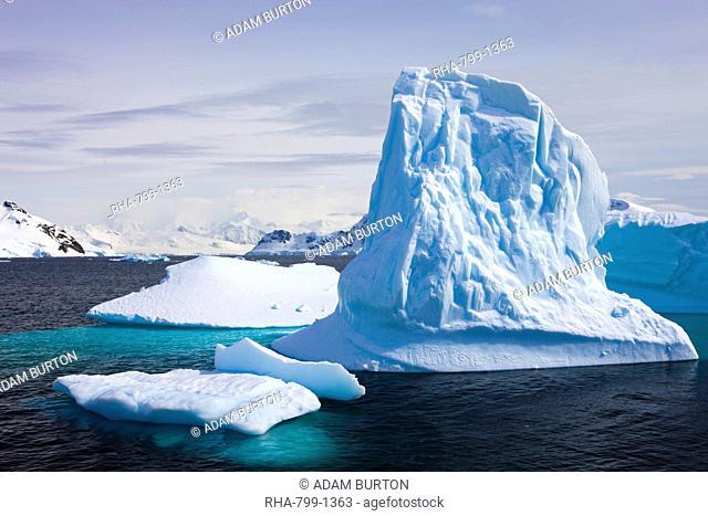 Icebergs in Paradise Harbour, Antarctic Peninsula, Antarctica, Polar Regions