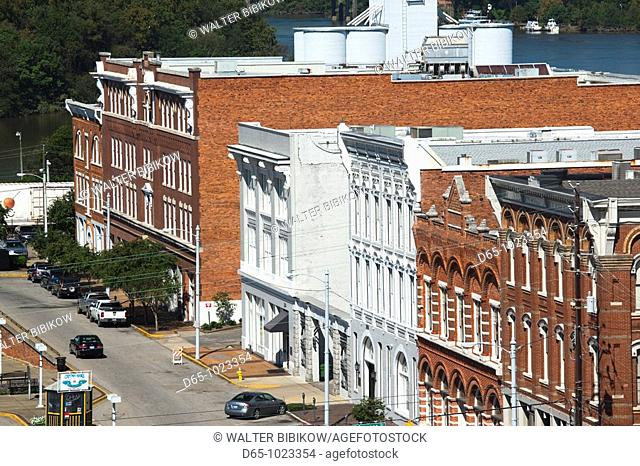 USA, Alabama, Montgomery, high angle view of buildings on Commerce Street