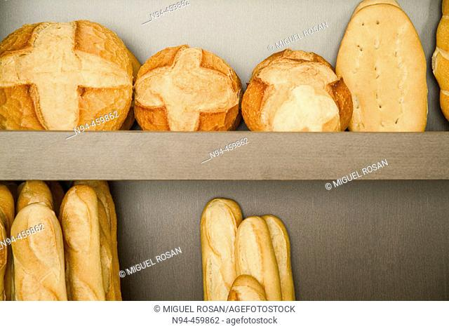 Bookshelf speaker with loaves of different types and sizes in the oven baking Canizares of Valencia, Valencia, Spain