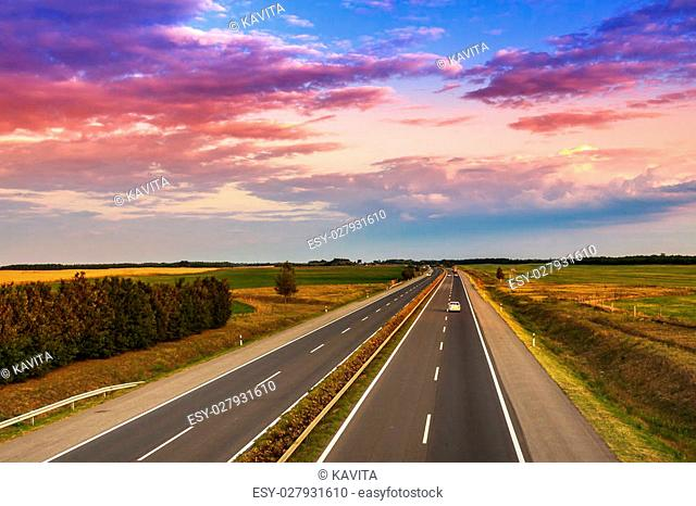 Speed highway sunrise Stock Photos and Images | age fotostock