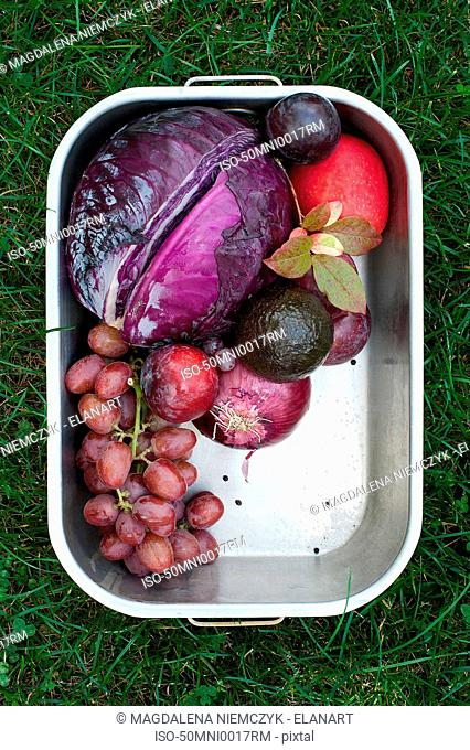 Pan of fresh picked fruit and vegetables