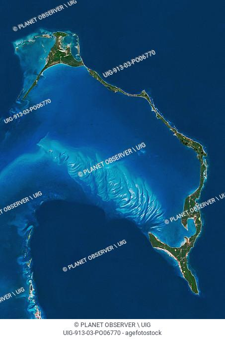 Satellite view of Eleuthera Island, Bahamas. This image was compiled from data acquired by Landsat satellites