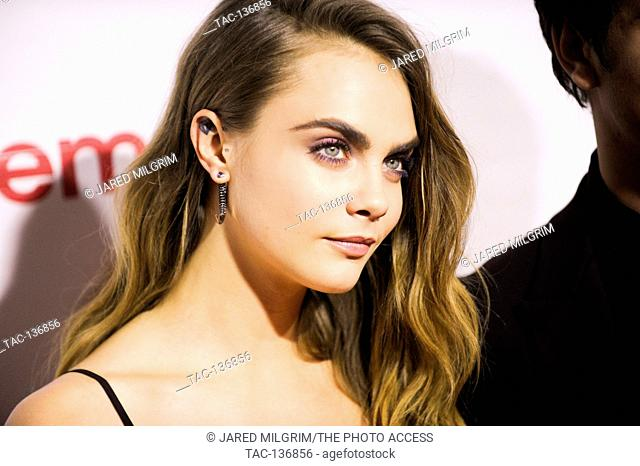 Model Cara Delevingne arrives for The CinemaCon Big Screen Achievement Awards on April 23, 2015 in Las Vegas, Nevada