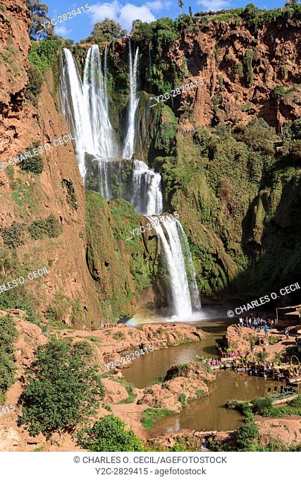 Falls of Ouzoud, Cascades d'Ouzoud, Morocco. Tourist Group Lower Right