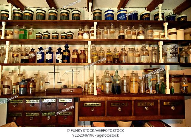 Inside of the Village chemist at Ryedale Folk Museum, Hutton Le Hole, North Yorks Moors National Park, Yorkshire, England
